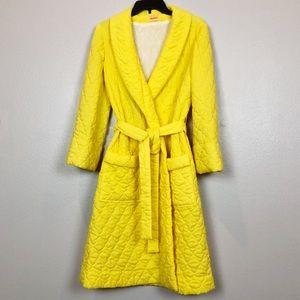 Vintage Yellow Quilted Robe Retro 1960's Era